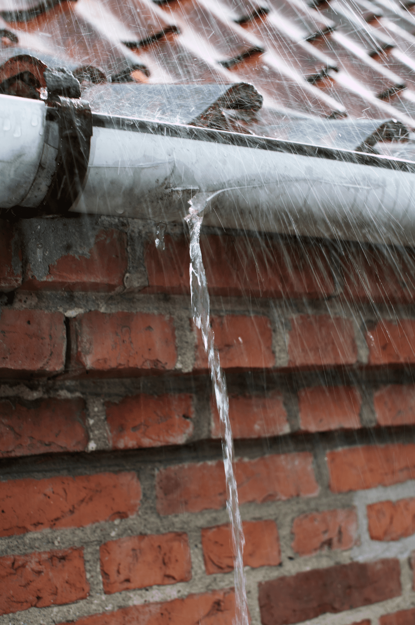 roof and gutter on a rainy day