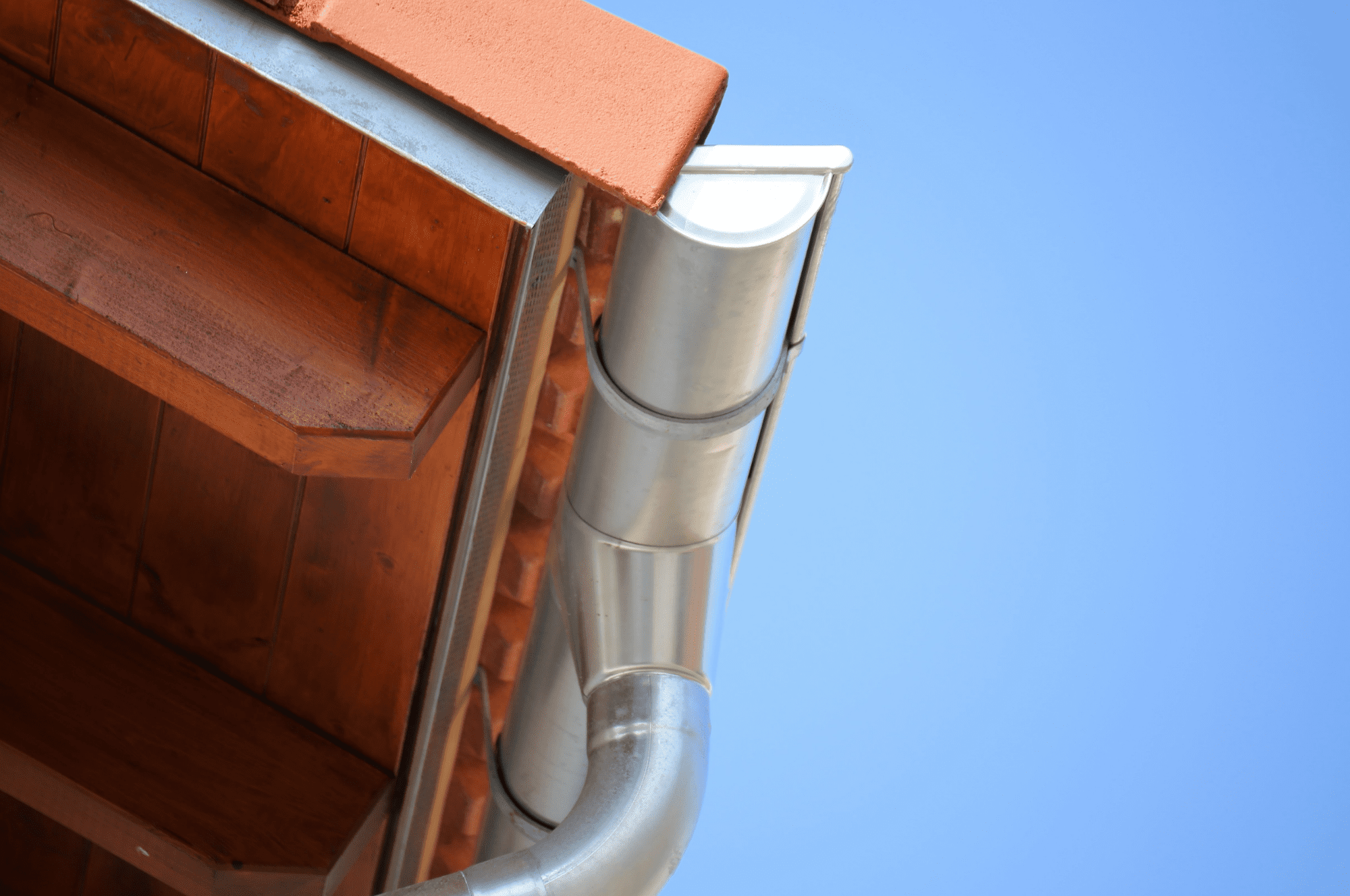 close-up shot of roof eaves and gutter